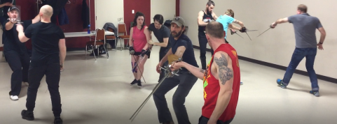 """""""Three Musketeers"""" fight rehearsal"""
